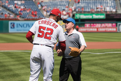 PenFed President and CEO James Schenck Throws First Pitch on PenFed Day at Nationals Park.