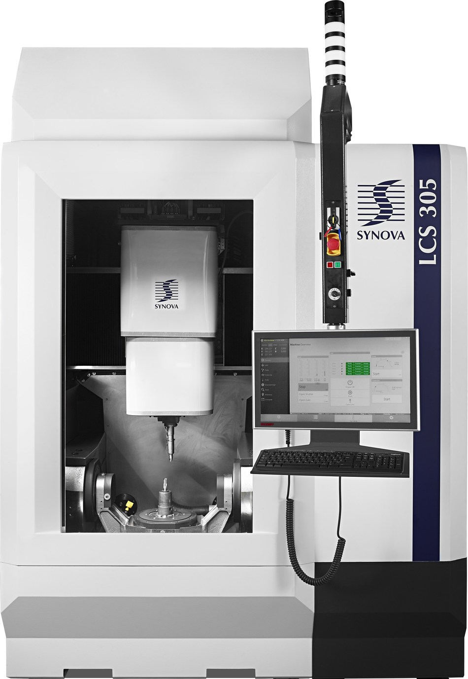 The new 5-axis laser machining center LCS 305 from Synova is designed to handle complex 3-D applications in tool and aerospace industries. The LCS 305 with Laser MicroJet® technology offers unmatched accuracy, quality and speed with highly dynamic axes, water-cooled linear and torque motors, mineral casting machine bed and fully automatic offset calibration system. (PRNewsfoto/Synova)