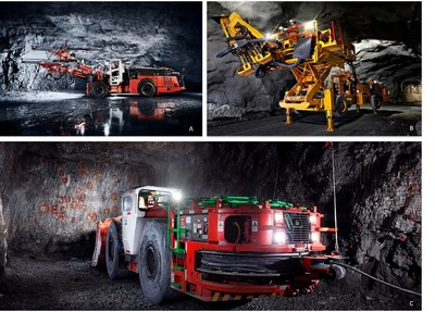 Figure 4: Underground electrical equipment at Borden including; A. Battery/Electric Development Jumbo (Sandvik DD422IE) B. Battery/Electric Mechanized Bolter (McLean 975 Omnia Bolter) C. Fully Electric Scoop / Underground Loader (Sandvik LH514E). (CNW Group/Goldcorp Inc.)