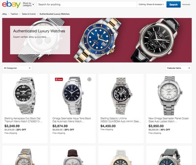 eBay announces the expansion of eBay Authenticate™ into the luxury watch category, offering consumers thousands of high-end watches, verified by professional authenticators.
