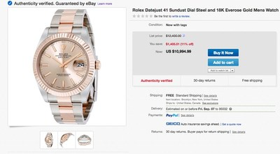eBay, one of the largest luxury watch marketplaces in the world, offers the widest selection of inventory online. Shoppers can now browse an authenticated selection of over 30 luxury watch brands, including Rolex, Patek Philippe, Omega, Audemars Piguet, Breitling and Panerai.