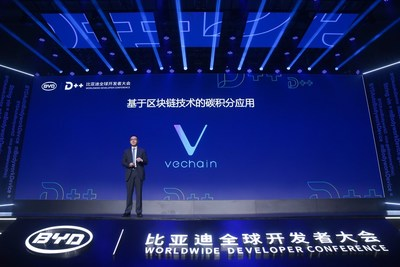 VeChain CEO Sunny Lu introduces blockchain powered Global Carbon Credits APP at BYD Worldwide Developer Conference on Sept 5th, 2018 (PRNewsfoto/VeChain)