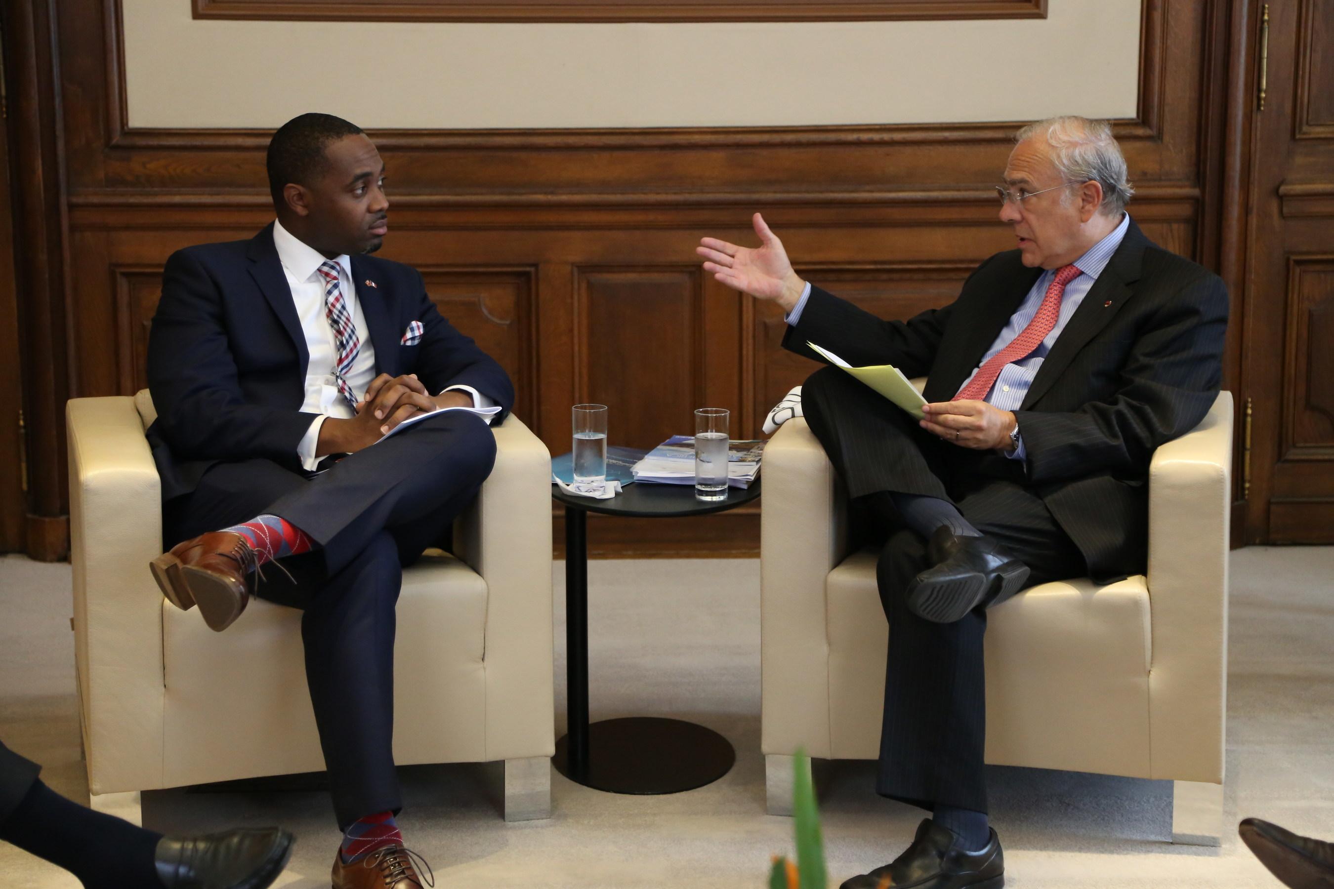 The Premier of Bermuda, The Hon David Burt JP, MP, and Director General Angel Arrugía on September 4 in Paris. (PRNewsfoto/Government of Bermuda)