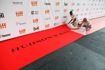 Hudson's Bay rolls out the official striped carpet in preparation for the Toronto International Film Festival. (Photo credit: George Pimentel Photography) (CNW Group/Hudson's Bay)