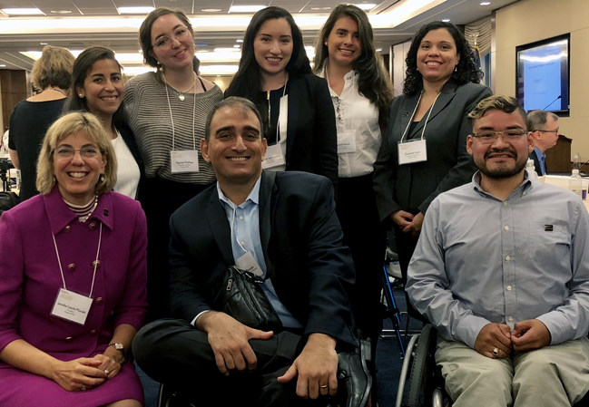 The Coca-Cola Foundation's Vincenzo Piscopo is surrounded by RespectAbility Fellows: Daniela Nieves, Mannela Iparraguirre, Christina Revilla Chacon, Rachel Walloga and Steve Bobadilla as well as Jennifer Mizrahi and Elizabeth Jones from RespectAbility's staff.