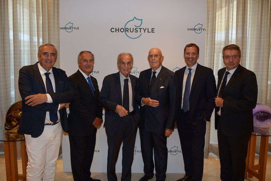 Chorustyle Press Conference, Milan 2018 - From left: Guglielmo Pelliccioli, Gianluigi Belotti, Cav.Lav. Domenico Bosatelli, Cav.Lav. Mario Boselli, Fulvio Giuliani, Gianpaolo Sana