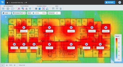 Indoor wireless design showcasing AP placement and heat map simulation of predictive model. Users upload their project floor plans, set their project scales and the tools algorithm optimizes AP placement and settings to meet coverage needs based on client demands.