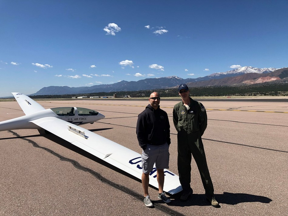 Warrior Donald Maloy prepares to glide during Wounded Warrior Project outing
