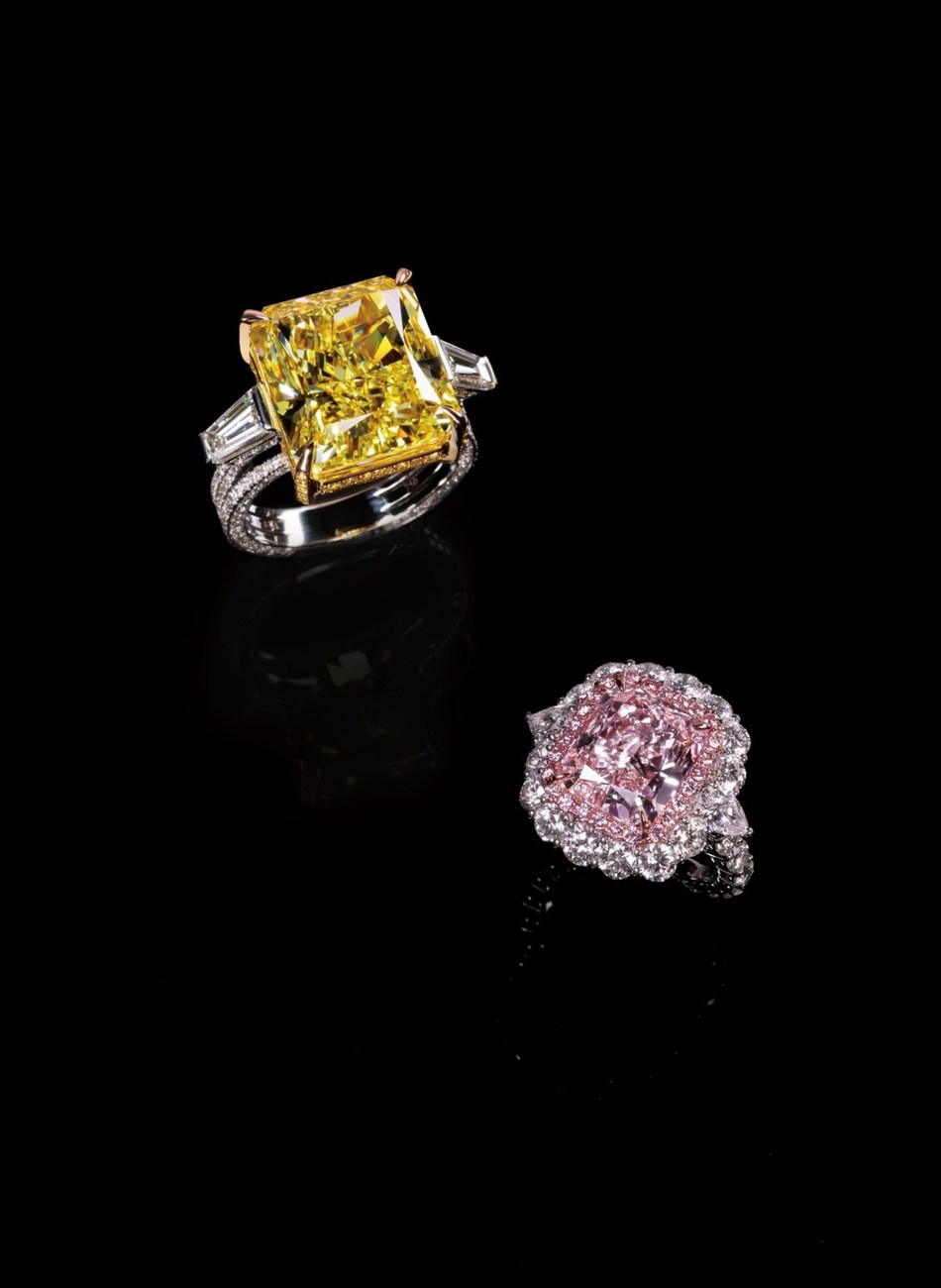 Glamour Fine Jewelry will showcase a 6.00-carat fancy light pink diamond ring and a 15.00-carat fancy vivid yellow diamond ring.