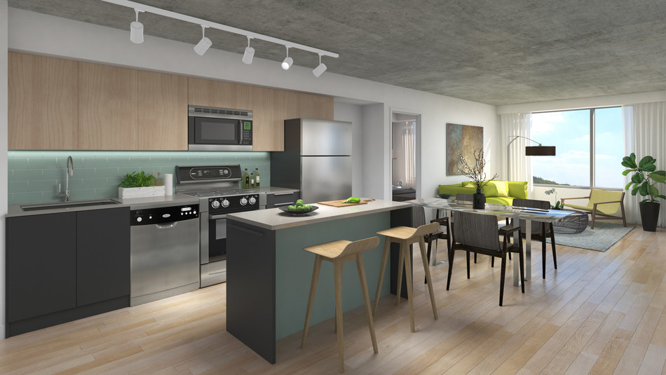 Rendering of kitchen and living room area – 1235 Marlborough in Oakville, Ontario (CNW Group/The Minto Group)