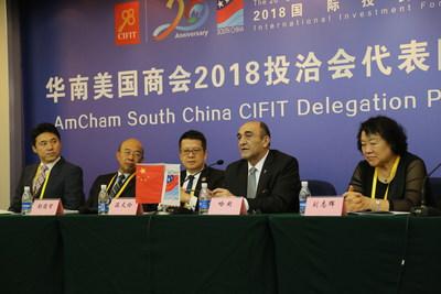 AmCham South China President Dr. Harley Seyedin (R2) and Representative of NU SKIN (R1) at AmCham South China CIFIT Delegation Press Conference