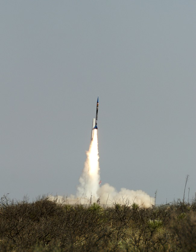 Previous launch of UP Aerospace's SpaceLoft rocket from Spaceport America in New Mexico carrying NASA Flight Opportunities program technology in 2013.