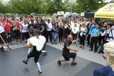 Some participants from the Ritchie Bros. Corporate Kids Challenge compete in an epic dance battle. The annual event, held every September, is designed to remind participants how fun and important sport is to our lives. (CNW Group/Ritchie Bros. Auctioneers)