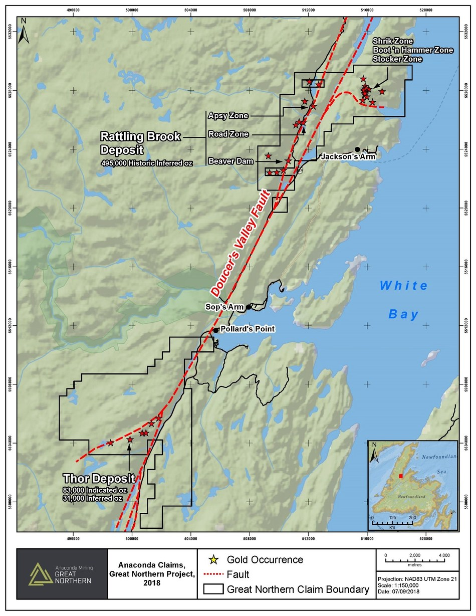 Exhibit B. Location and gold occurrences, including the Thor and Rattling Brook Deposits, of the Great Northern Project in western Newfoundland and Labrador. (CNW Group/Anaconda Mining Inc.)