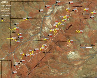 Figure 1: Stream sediment sample locations with indication of presence of gold grains (yellow indicates presence of visible grains, black no visible grains). Four digit numbers are sample reference numbers, Red numbers are gold values in ppb Au. (CNW Group/NxGold Ltd.)