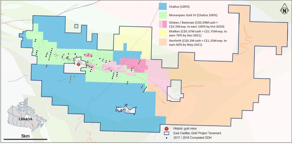 Figure 1. East Cadillac Gold Project ownership (Monarques Gold JV area now owned 100%). (CNW Group/Chalice Gold Mines Limited)