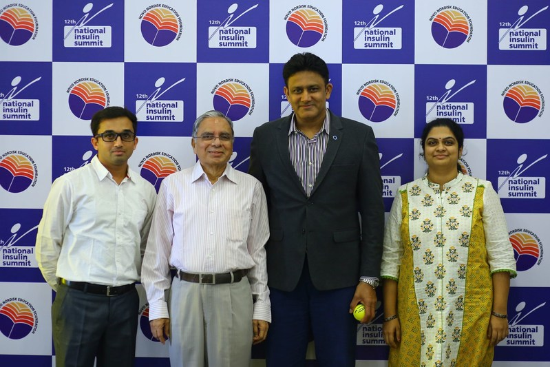 Changing Diabetes® Ambassador, Anil Kumble, at the 12th edition of the National Insulin Summit (NIS) in Hyderabad. (PRNewsfoto/Novo Nordisk)