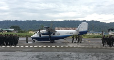 Ecuadorian Army troops greet the Sikorsky-PZL M28 twin engine turboprop aircraft in Shell Mera following a 13,500 km flight from Poland. The twin-engine turboprop will meet the Army's need for a proven multi-role transport aircraft that can perform short takeoff and landings in diverse climates and terrain.