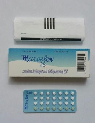 Comprimés de Marvelon 28 (l'emballage ne contient pas d'autocollants pour les jours de la semaine) (Groupe CNW/Santé Canada)