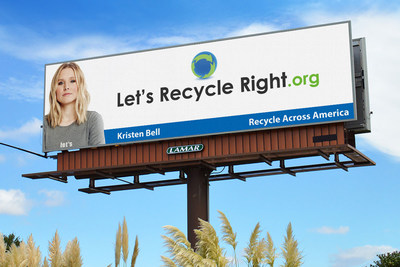 Kristen Bell featured in Let's recycle right! campaign for Recycle Across America on Lamar Advertising Company billboards across the U.S.