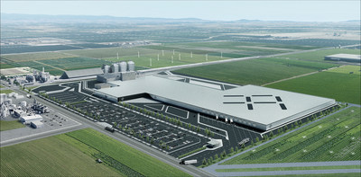Representación de la fábrica de Faraday Future en Hanford, California, como se verá cuando esté en pleno funcionamiento a principios de 2019.