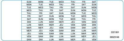 Étiquettes autocollantes indiquant les jours de la semaine (Groupe CNW/Merck Canada inc.)