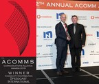 Speedcast's Hamish Lee, VP of Sales-APAC, accepts the award for Community Contribution for the company's continued communications support on Christmas Island at the 12th annual ACOMM Awards Dinner in Sydney.