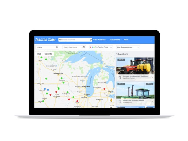 Farm machinery auctions listed on tractorzoom.com.