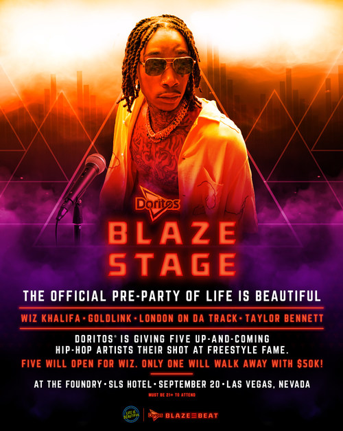 Wiz Kahlifa to headline the Doritos #BlazeStage, the official pre-party of the Life Is Beautiful Music & Art Festival,