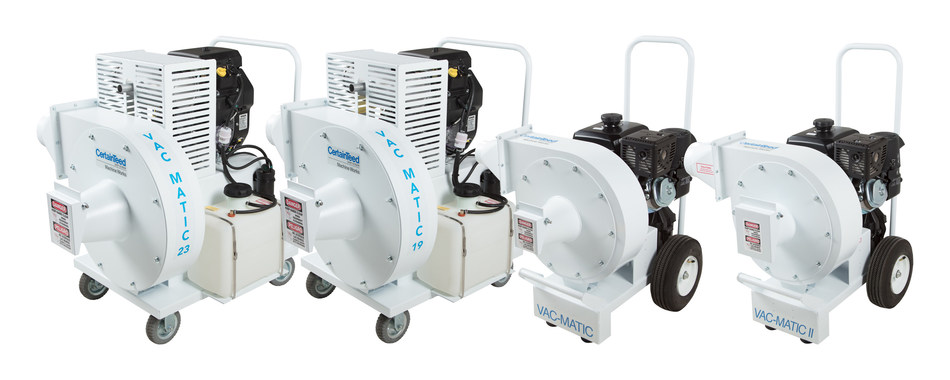 CertainTeed Machine Works expands its line of insulation removal equipment with three new Vac-Matic industrial vacuums and a new debris filtering device. (From left: Vac-Matic 23,  Vac-Matic 19, the Vac-Matic and the Vac-Matic II)