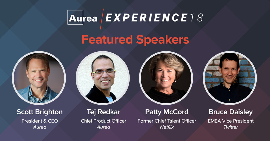 Aurea Software, a leading provider of customer and employee experience solutions, including Jive, today announced the keynote speakers for its upcoming Aurea Experience 18 conferences. (PRNewsfoto/Aurea Software)