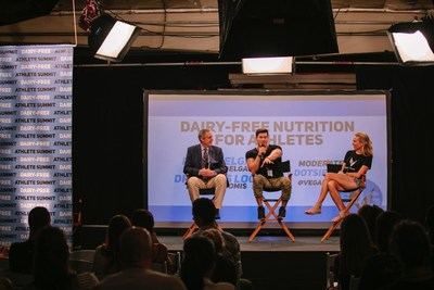 Dr. James Loomis, Vegan Bodybuilder Nimai Delgado and Olympian Dotsie Bausch discuss nutrition benefits for dairy free athletes at the first ever Switch4Good Dairy Free Athlete Summit in Los Angeles, CA. More than 80 attendees discussed personal experiences, data, research, and health while planning strategic actions to educate the public about the benefits of a dairy free lifestyle. Credit: Alexandra Foley, Switch4Good.