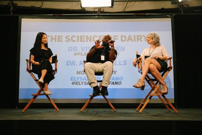 Dr. Vivian Chen, Dr. Milton Mills and Moderator Elysabeth Alfano break down the true science of dairy consumption and its negative health and performance impacts on athletes at the first ever Dairy Free Athlete Summit in Los Angeles, CA. Switch4Good is a coalition comprised of Olympic and professional athletes - supported by a team of health professionals and trainers - with a mission to educate the public on the dangers of dairy consumption. Credit: Alexandra Foley, Switch4Good.