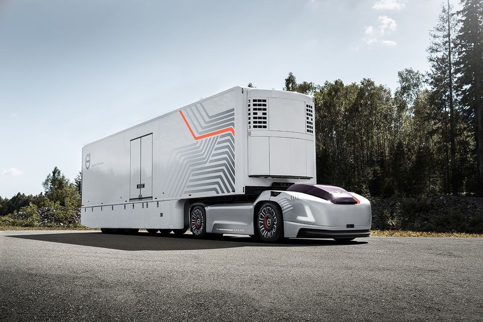 Volvo Trucks is developing a new type of transport solution for repetitive transports involving high precision between fixed hubs, as a complement to today's solution (PRNewsfoto/Volvo Trucks)
