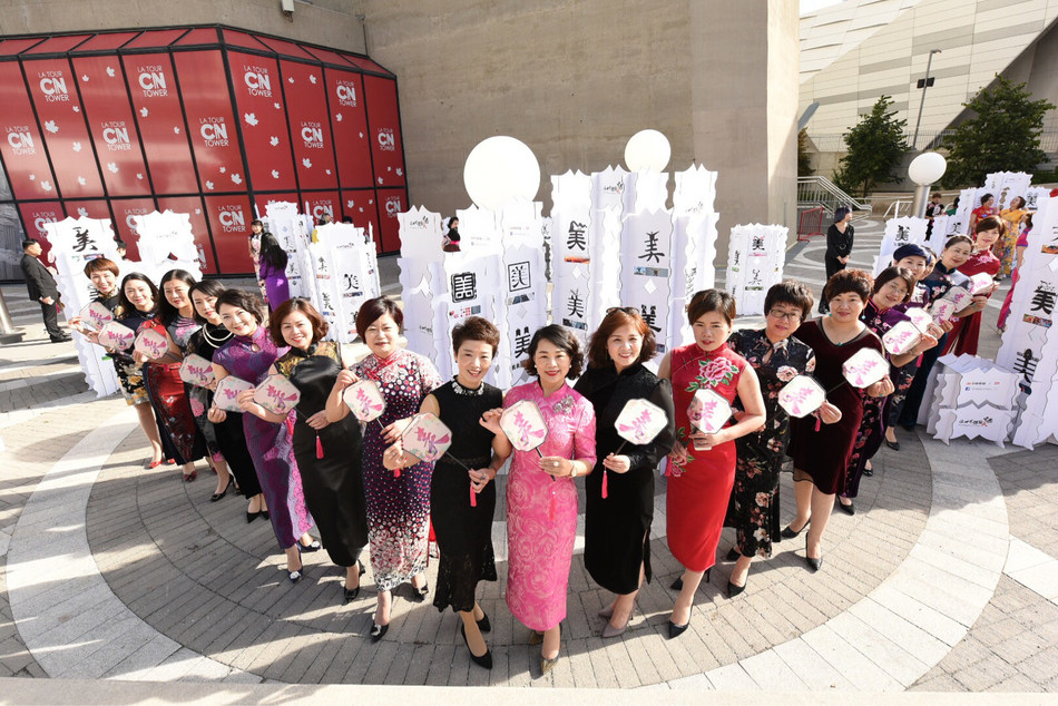 """Chinese Beauties"" wearing cheongsams at the exhibition."