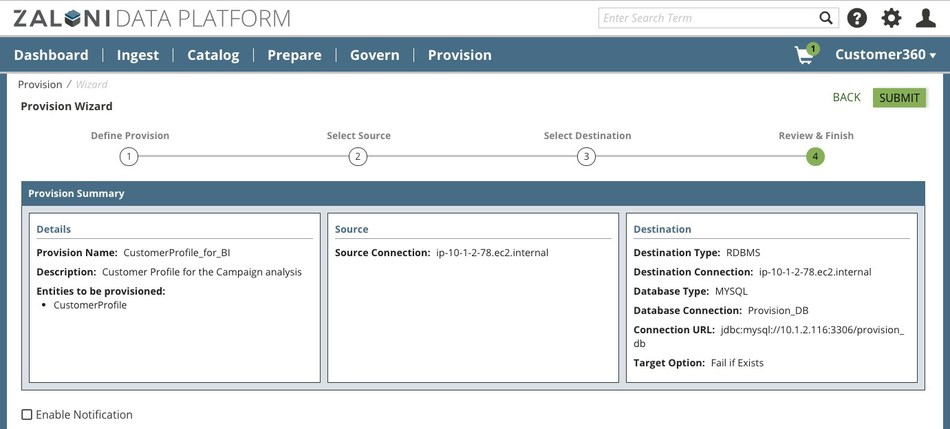 Provision Wizard walks the user through self-service provisioning steps.