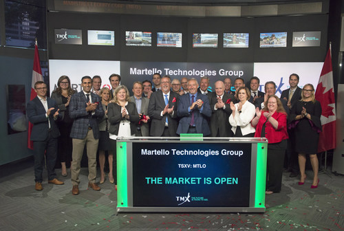 """Martello opened the TSX Venture Exchange (""""TSXV"""") today, 'ringing the opening bell' on the company's first day of trading with the symbol """"MTLO"""". (CNW Group/Martello Technologies Group)"""