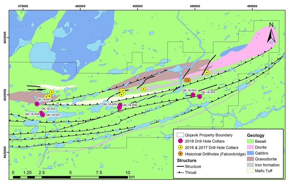 Figure 1: Map of eastern half of the Qiqavik property showing the location of 2018 drilling (CNW Group/Orford Mining Corporation)