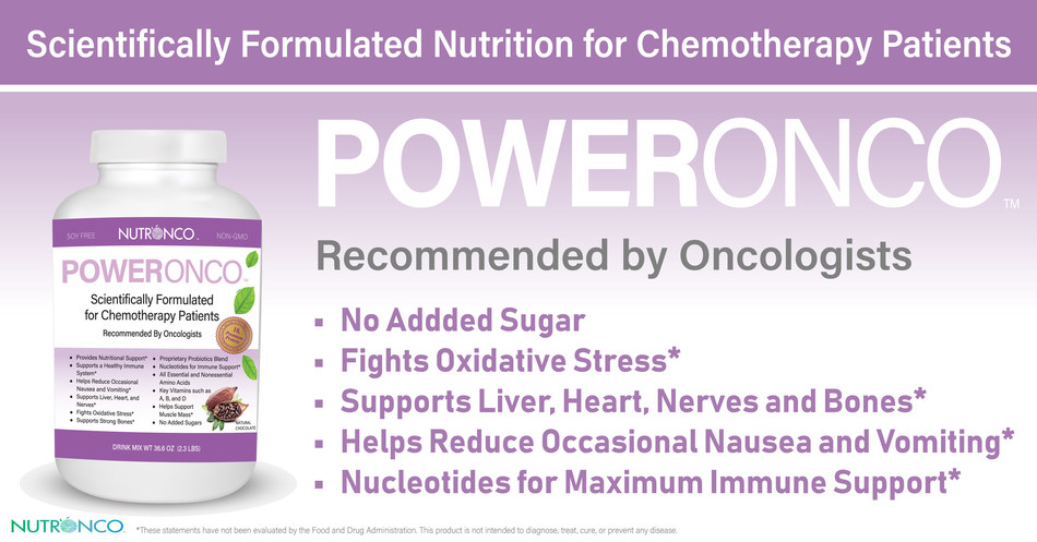 PowerOnco is a nutritional supplement scientifically formulated for chemotherapy patients to support muscle health, help fight oxidative stress, improve immune support, address digestive health, energy support, help protect liver, kidney and heart, and lower side effects such as nausea and vomiting.