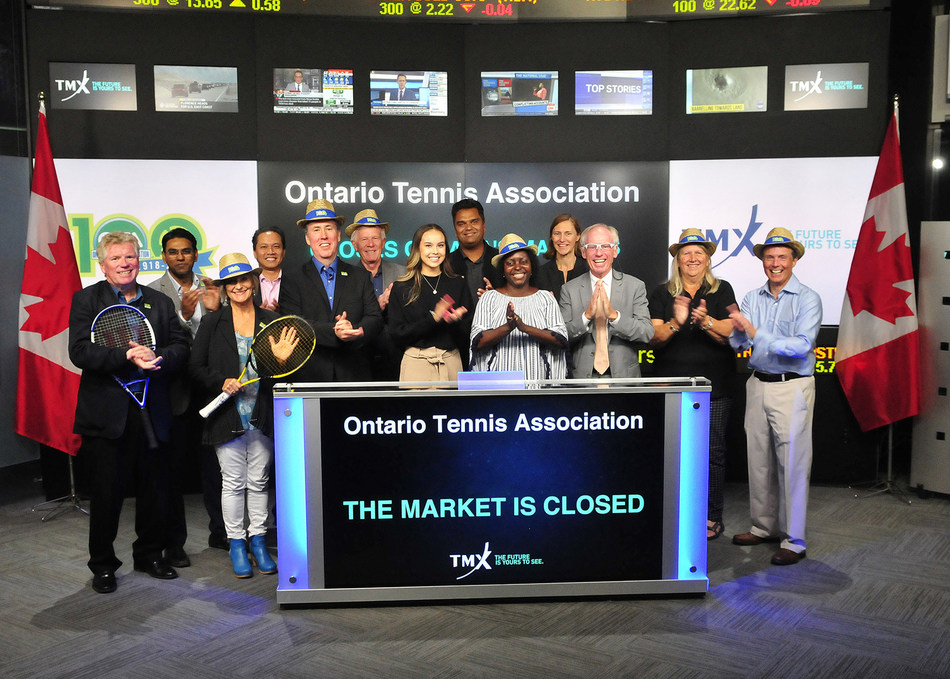 Rob Nicholls, President, Ontario Tennis Association (OTA), joined Deanna Dobrowsky, Vice President, Regulatory, Office of the General Counsel, TMX Group, to close the market to celebrate its 100 year anniversary. With its national partner, Tennis Canada, the OTA's mission is to promote the sport of tennis for both competitive and recreational players. Past alumni of the OTA's junior competitive program include Daniel Nestor, Frank Dancevic (Captain), Milos Raonic and Denis Shapovalov – whose skills will be on display September 14-16 in Toronto as Canada takes on the Netherlands in the Davis Cup. (CNW Group/TMX Group Limited)