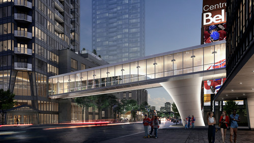 Official launch of the start of construction of the Quad Windsor Skybridge which will connect Tour des Canadiens 2 (TDC2) and TDC3 to Deloitte Tower and the Bell Centre (CNW Group/Tour des Canadiens 2 & 3)