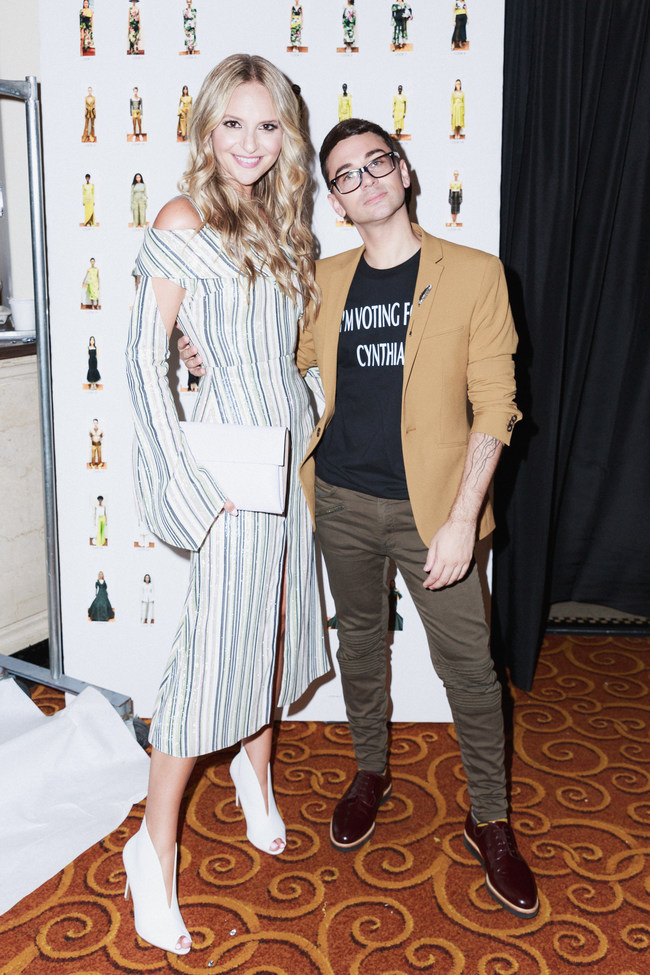 Christian Siriano and Jackie Miranne at Siriano's show on Saturday.