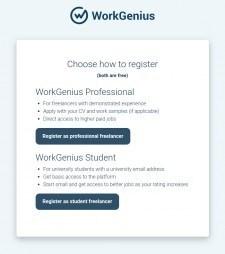 WorkGenius Public Access Registration Page