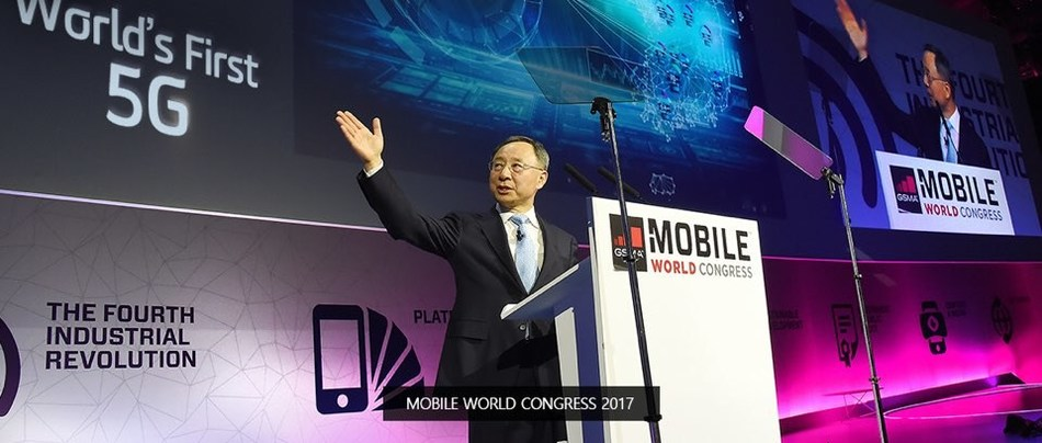 KT Chairman Hwang Chang-Gyu is photographed delivering a keynote speech on his vision for the world's first commercial 5G network launch at the Mobile World Congress (MWC) 2017 in Barcelona, Spain.