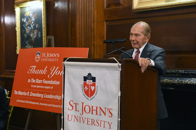 "Maurice R. ""Hank"" Greenberg, Chairman and CEO, C.V. Starr & Co. Inc., and Chairman, The Starr Foundation, describes historic $15 million gift to the School of Risk Management, Insurance and Actuarial Science, part of The Peter J. Tobin College of Business at St. John's University."