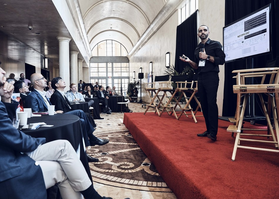 3TEN8 Founder and CEO Miro Salem, speaking to a crowd of mobile network executives earlier this week, at GSMA's Mobile World Congress Americas.