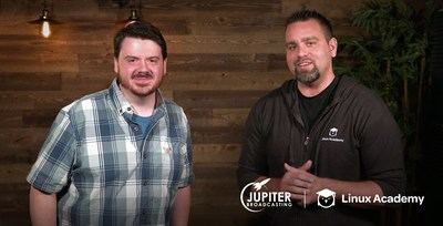 Chris Fisher, Jupiter Broadcasting co-founder, and Anthony James, Linux Academy founder and CEO.