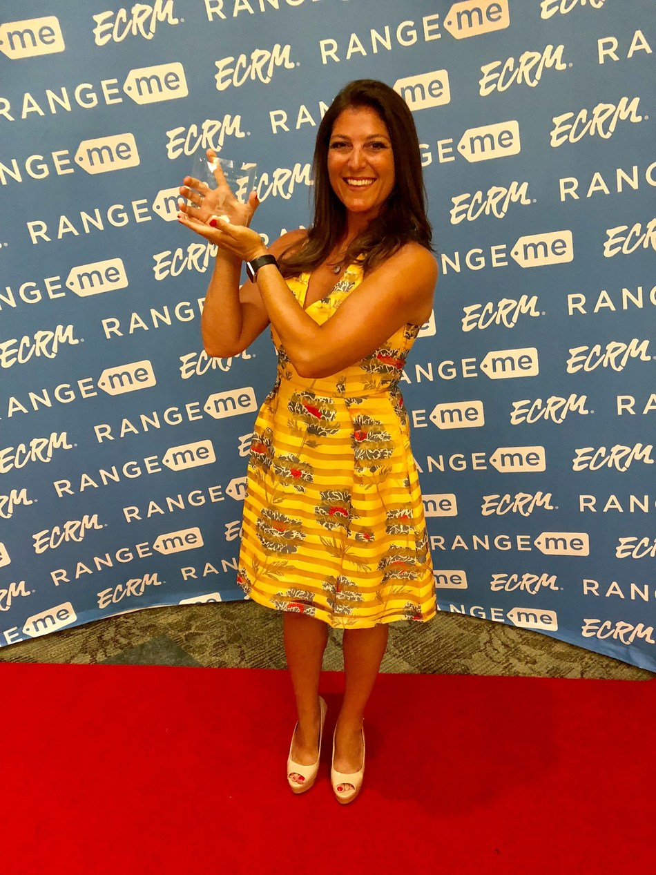 """Dr. Dana Canuso, owner of Dr. Canuso Skincare for Feet, accepts the """"2018 Best Product in Healthcare"""" award presented by Drug Store News and ECRM/RangeMe.  Dr. Canuso is a podiatrist in New Jersey and is often seen as an expert on television, radio and in national print media."""