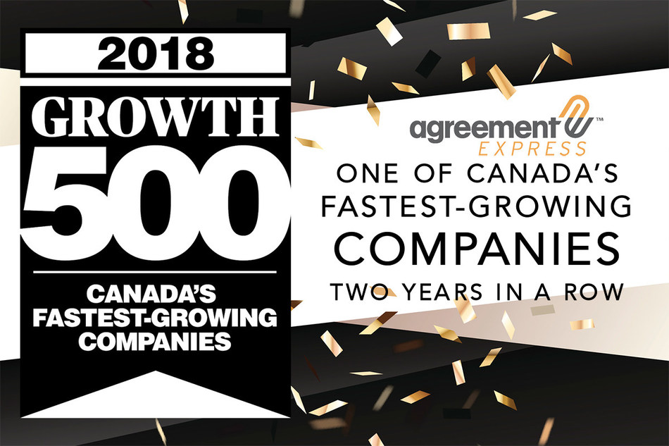 Agreement Express' second consecutive year on the Growth 500 ranking of Canada's fastest-growing companies. (CNW Group/Agreement Express)