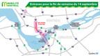 Entraves pour la fin de semaine du 14 septembre (Groupe CNW/Ministère des Transports, de la Mobilité durable et de l'Électrification des transports)